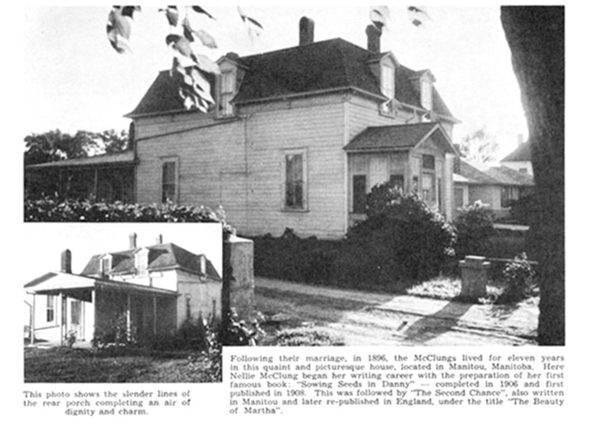 A newspaper clipping featuring McClung House as it originally stood at 336 Park in Manitou.