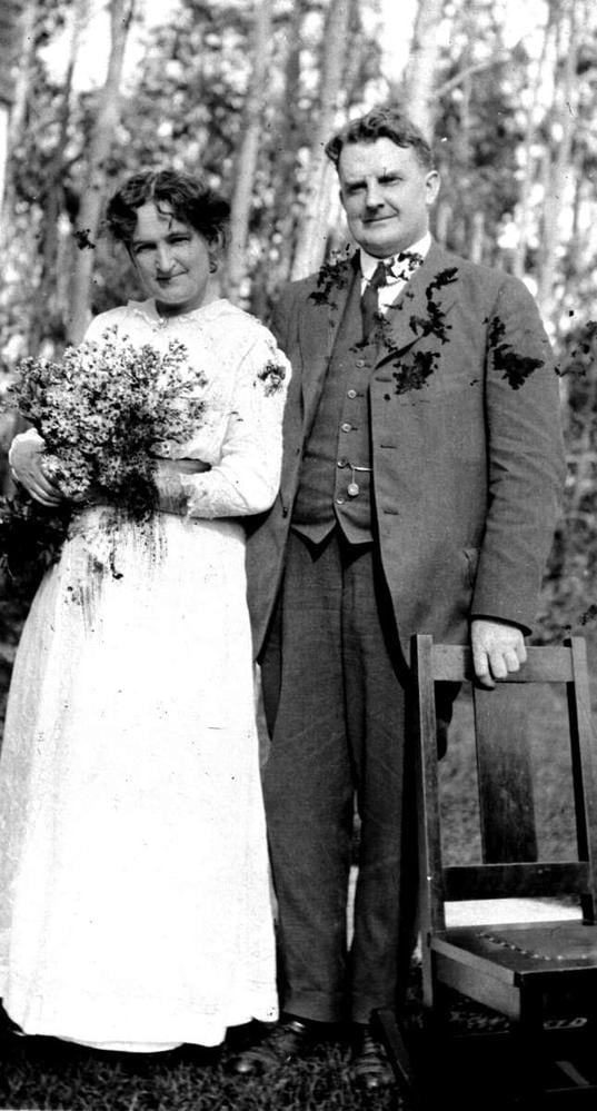 Nellie Mooney and Wes McClung the day before their August 25, 1896 wedding in Wawanesa, MB.